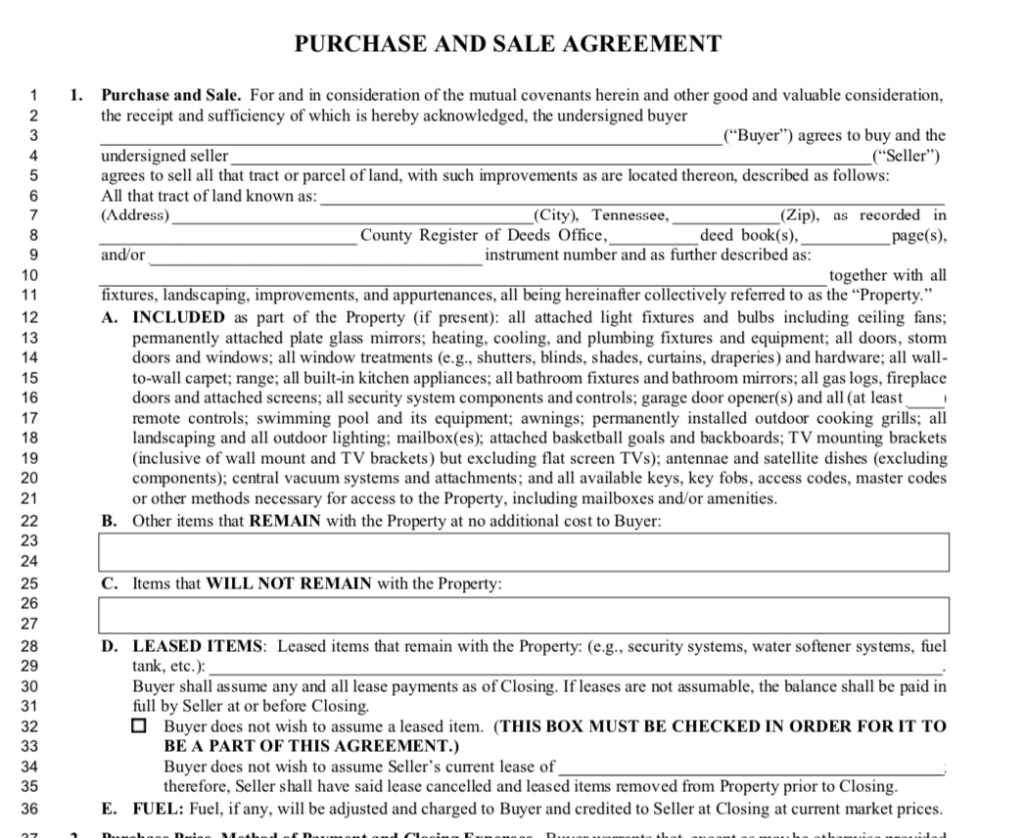Tennessee Purchase and Sale Agreement Section 1.